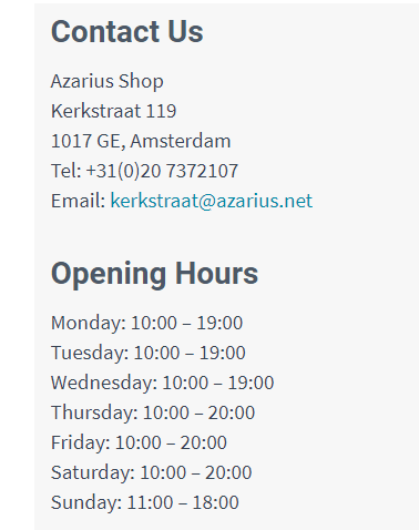 Azarius contact information